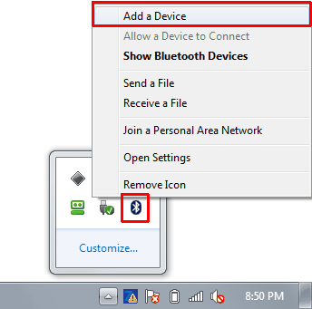 Right click on Bluetooth icon in task manager