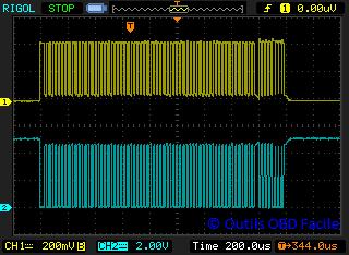 SAE J1850 PWM OBD frame oscillogram